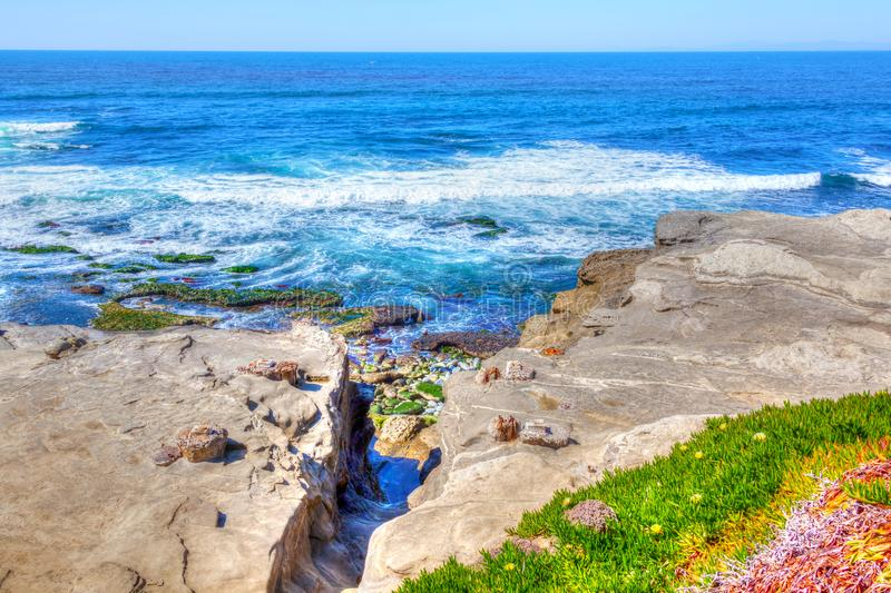 Waves at La Jolla Beach in San Diego California royalty free stock images