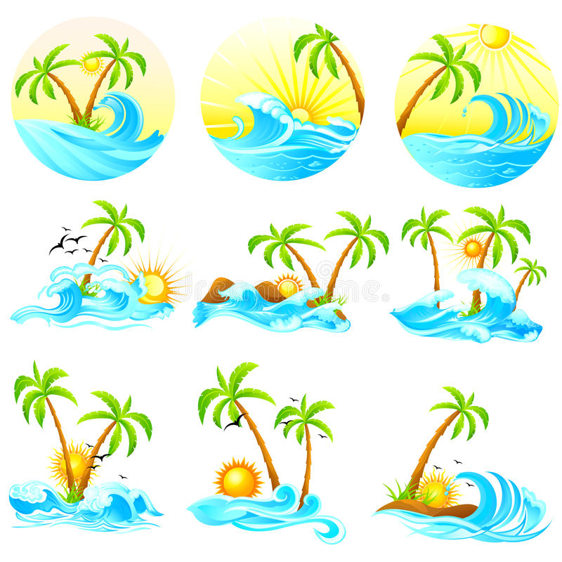 Waves with Palm Tree. Easy to edit vector illustration of waves with palm tree stock illustration
