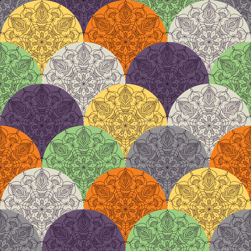 Waves pattern with circular ornaments stock illustration