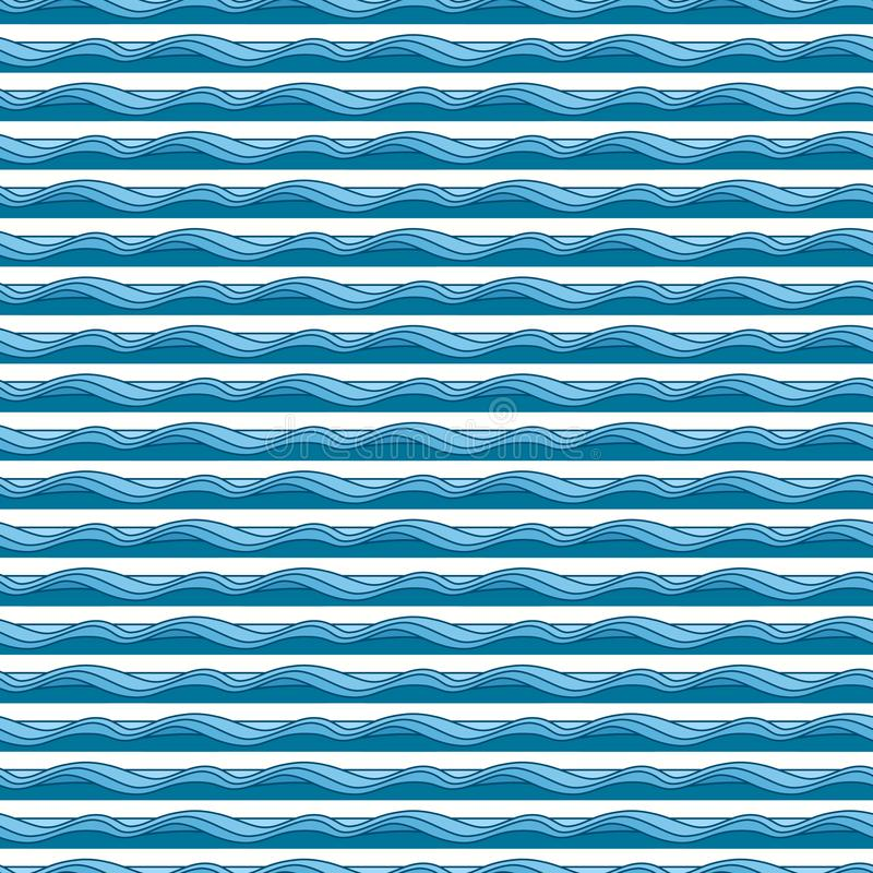 Waves pattern. Nautical and summer illustration. Abstract geometric background vector illustration