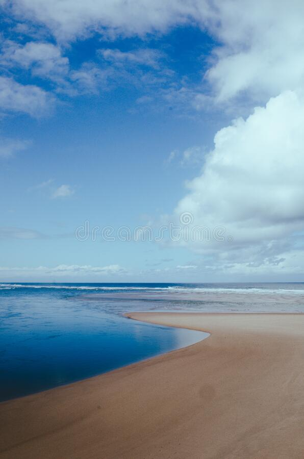 Coastline on the beach stock photo