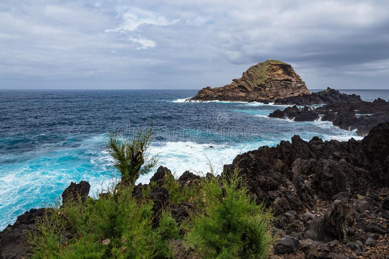 Waves and rocks in Porto Moniz on the island Madeira, Portugal.  royalty free stock photography