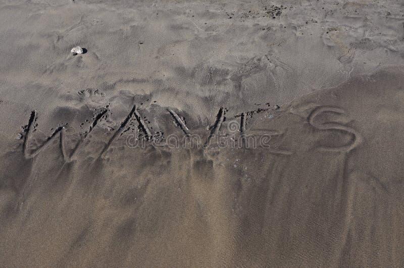 Waves on sand stock photo