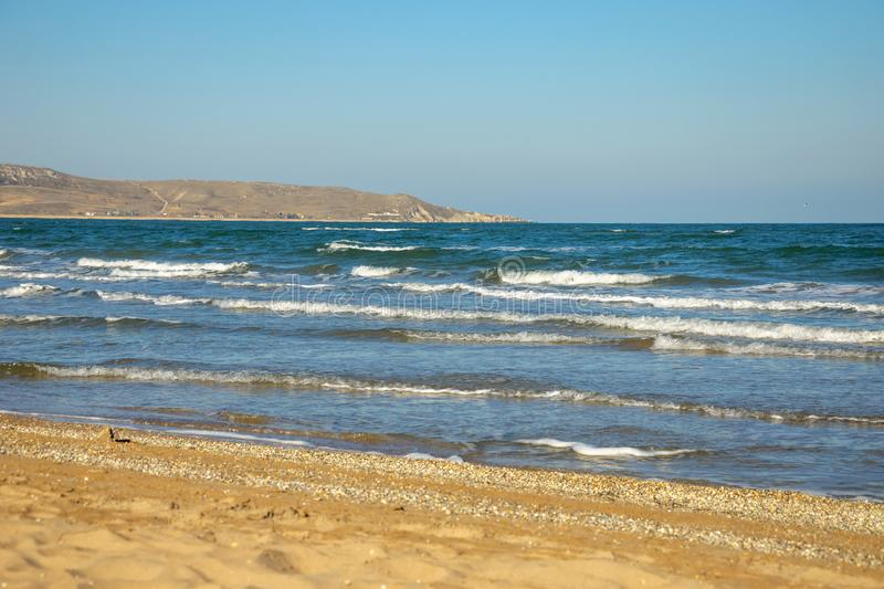 The waves of the sea , the sea of Azov in the Crimea royalty free stock photo