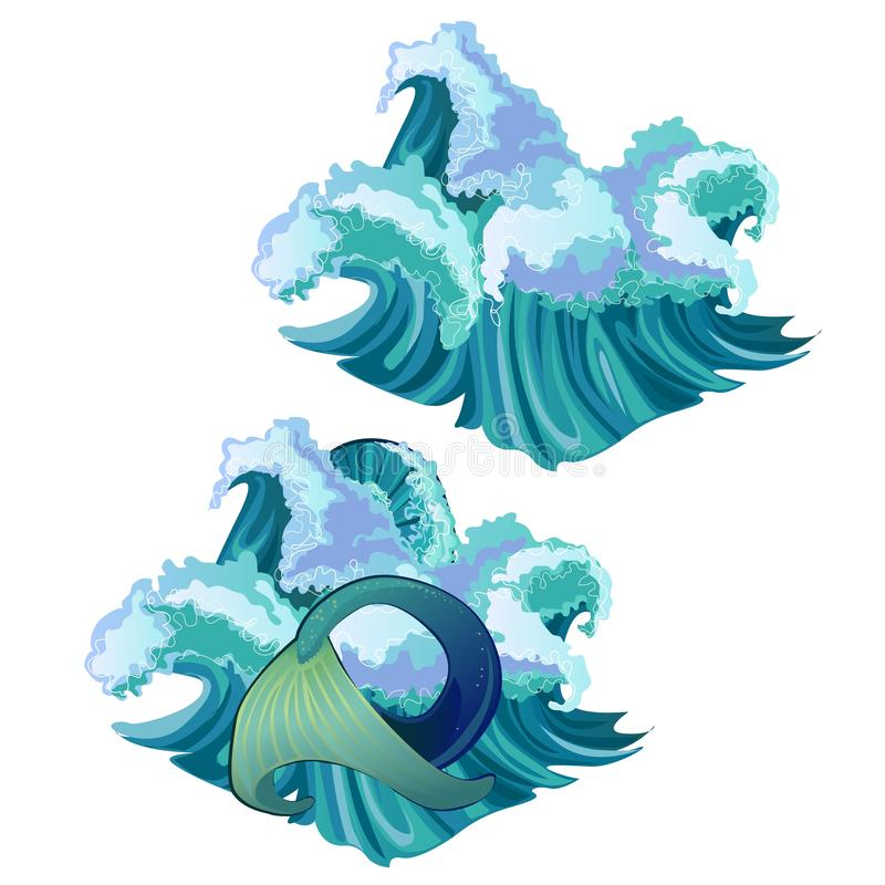 Waves of the sea and the mermaid tail isolated on white background. Vector cartoon close-up illustration. vector illustration