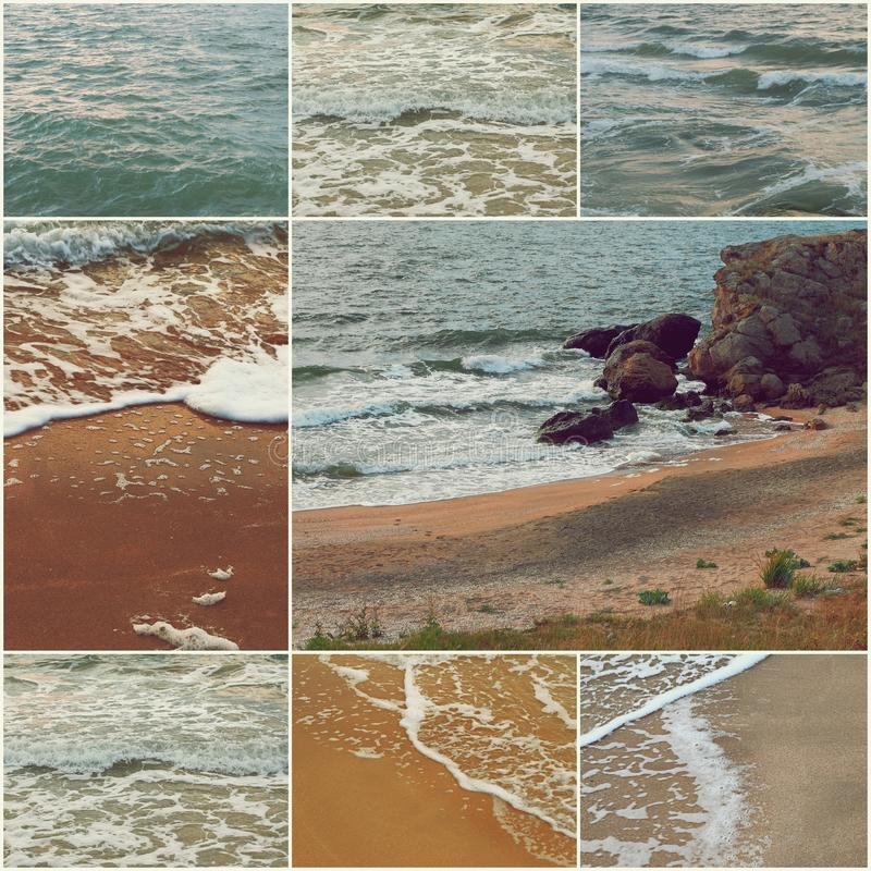 Waves of the sea on the sandy beach, Coastal stones Collage of toned photos. Waves of the on the sandy beach, Coastal stones Collage of toned photos royalty free stock photography