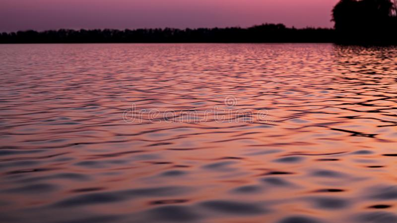Waves of the sea in the sunset of the evening sun. Smooth water in the sun. Sunset over the evening lake stock images