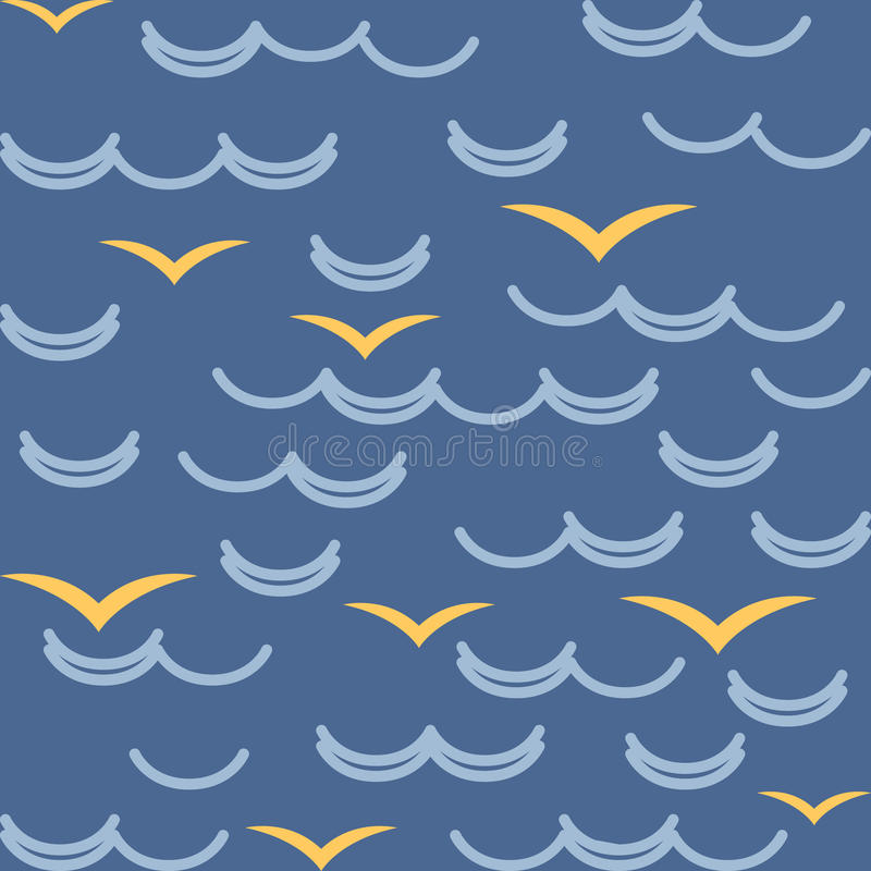 Waves and seagulls in blue colors. Seamless stock illustration