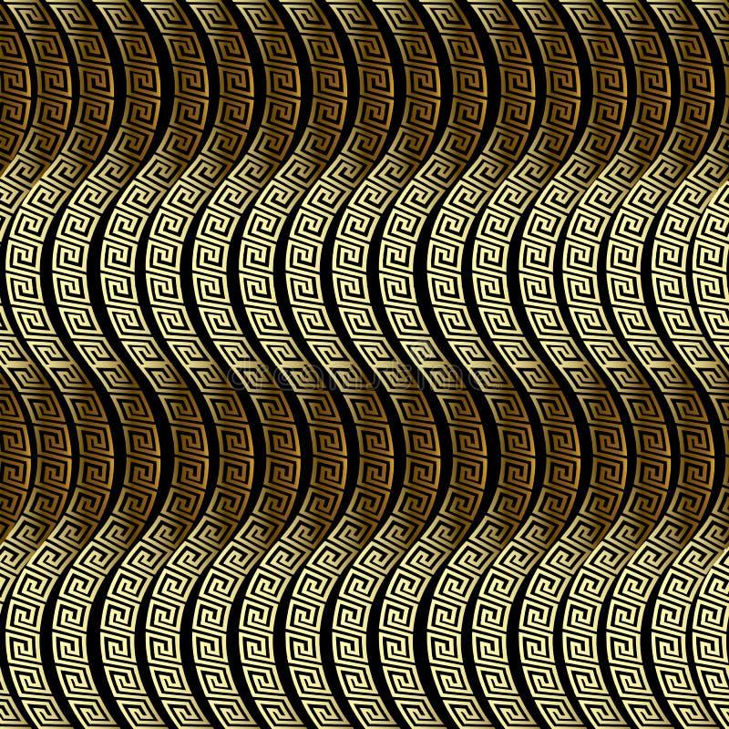 Waves seamless pattern. Greek vector ornamental 3d background. Ornate repeat wave lines backdrop. Wavy shapes. Greek key meander. Ancient ornament. Surface stock illustration