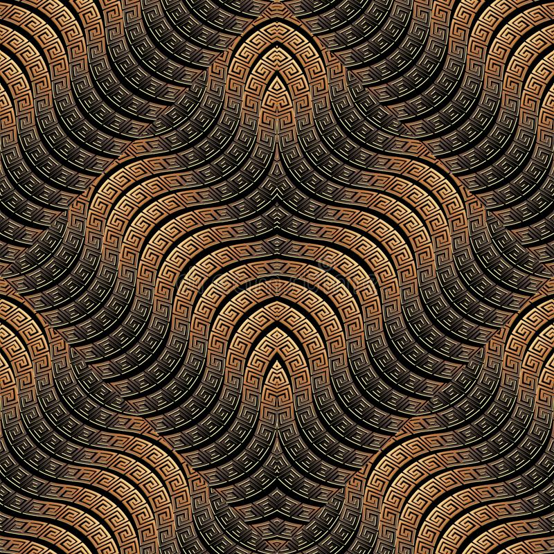 Waves seamless pattern. Greek vector ornamental geometric 3d background. Ornate repeat wave lines dark backdrop. Tiled wavy shapes. Greek key meander ancient royalty free illustration