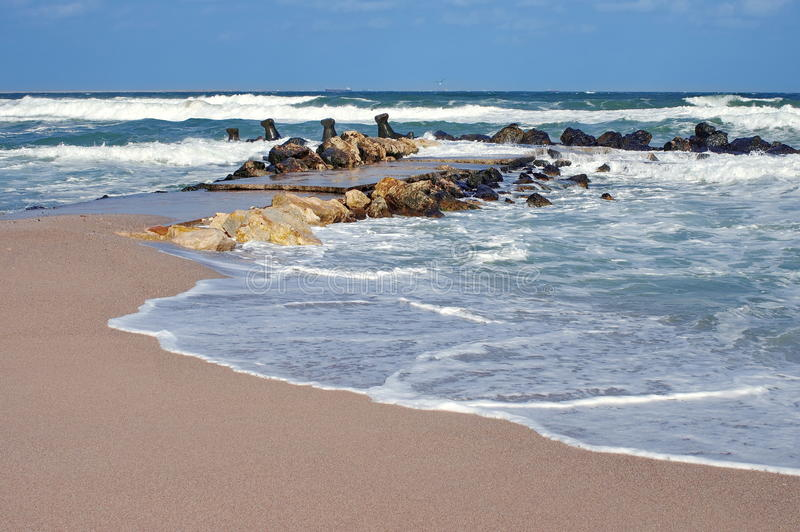 Seascape. Waves show. Summer, sea, sun, beach, holiday, fun - Black Sea, landmark attraction in Romania royalty free stock image