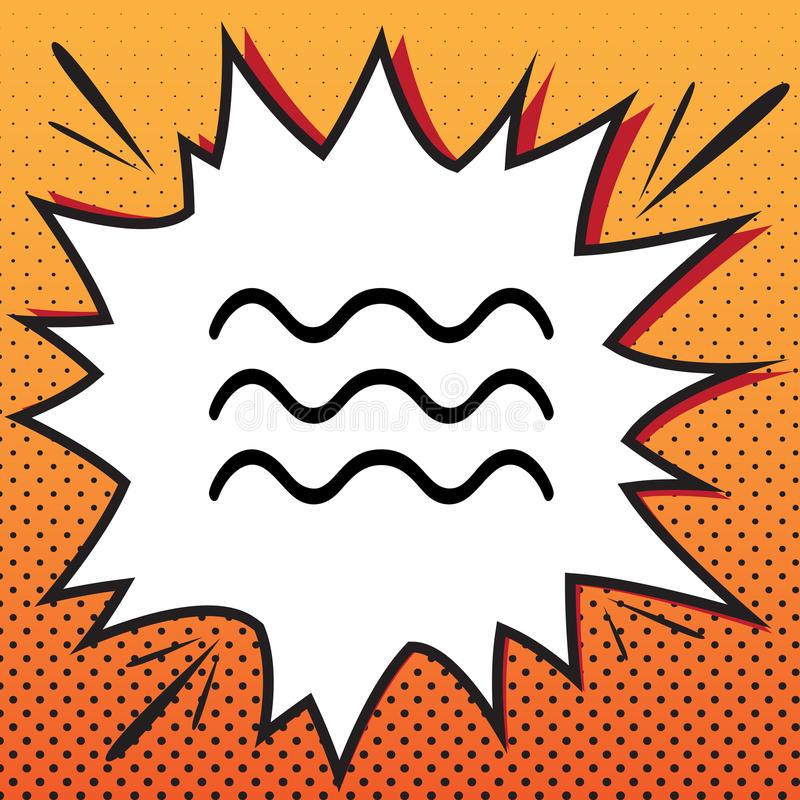 Waves sign illustration. Vector. Comics style icon on pop-art ba stock image