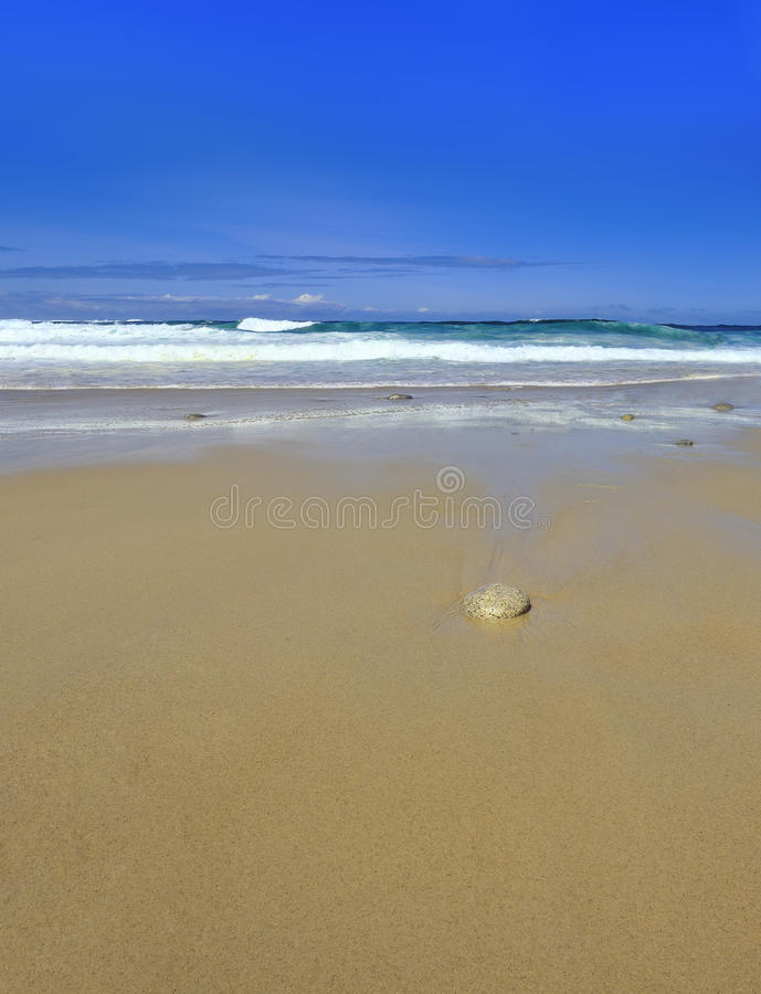 Free Waves Single Stone On Sandy Beach With Copy Space Stock Photos - 15261113