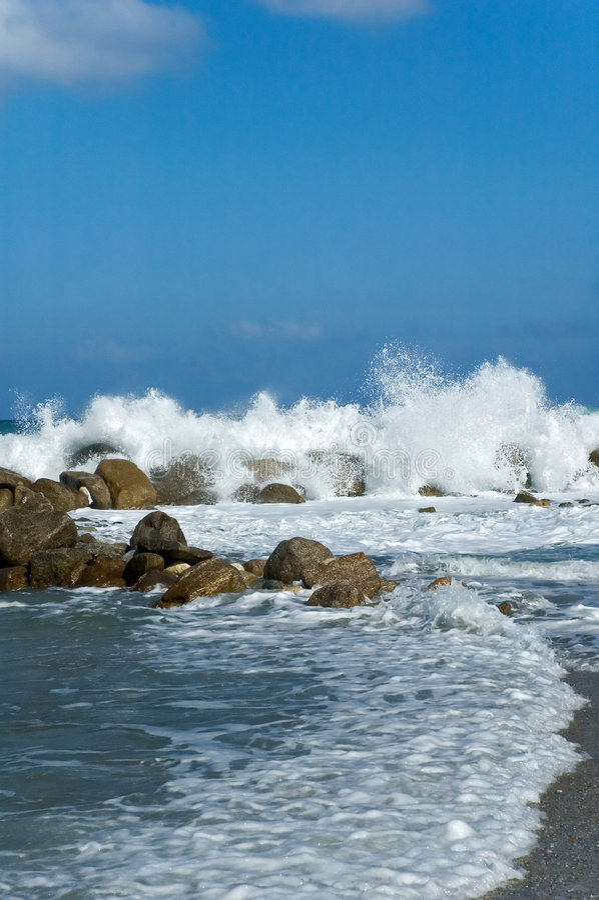 Waves splashing stock image