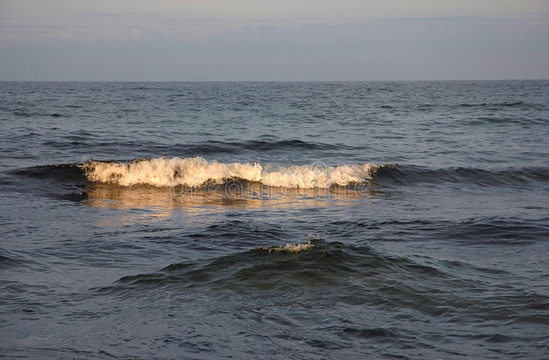 Waves in the sunset. In a calm ocean royalty free stock image