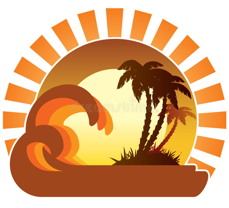 Waves, sunset, tropical island. Surfing waves, tropical island, palm trees on a beach vector illustration