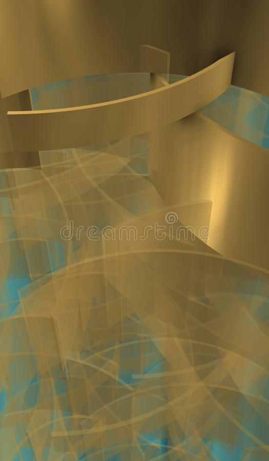 Waves in technological Space with mist shadows. Imagen of technological space with organizer silver cubes over bright background vector illustration