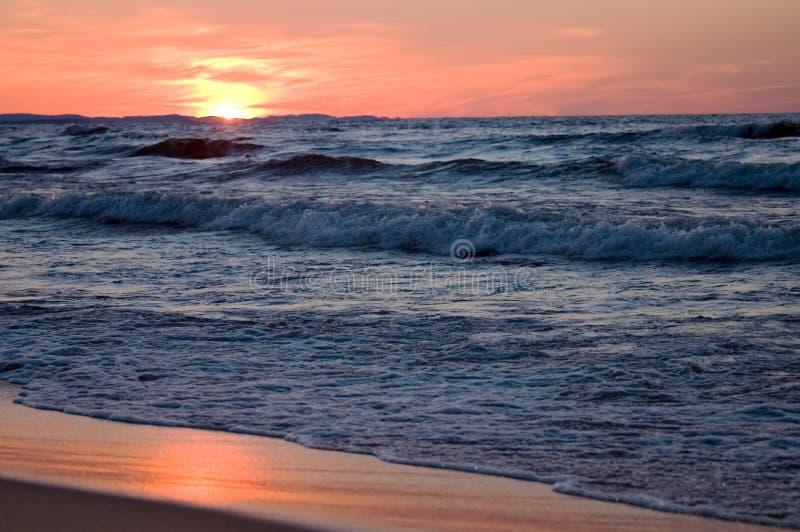 Waves at twilight stock photos