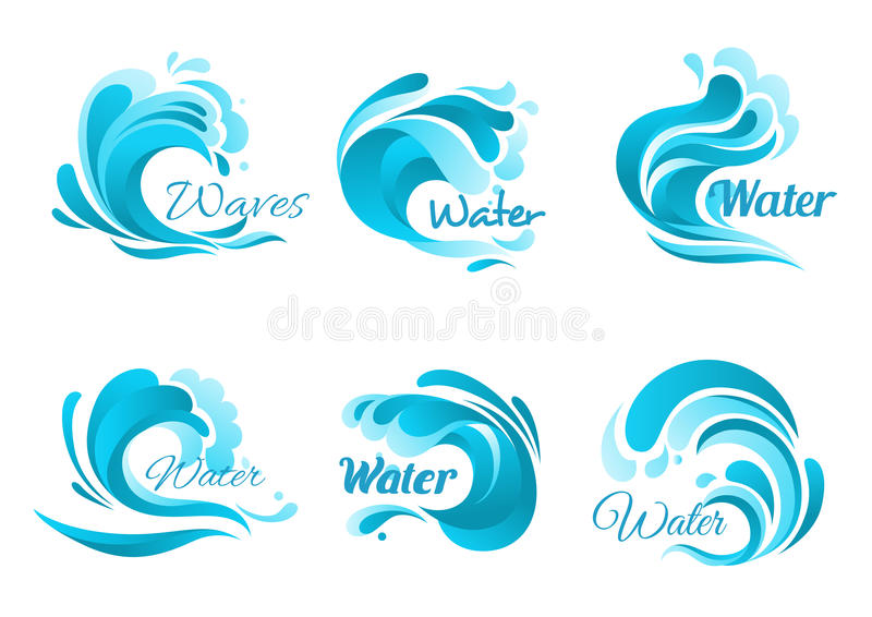 Waves and water splashes vector icons stock illustration