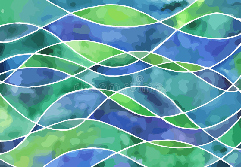 Waves watercolor backgrounds stock illustration