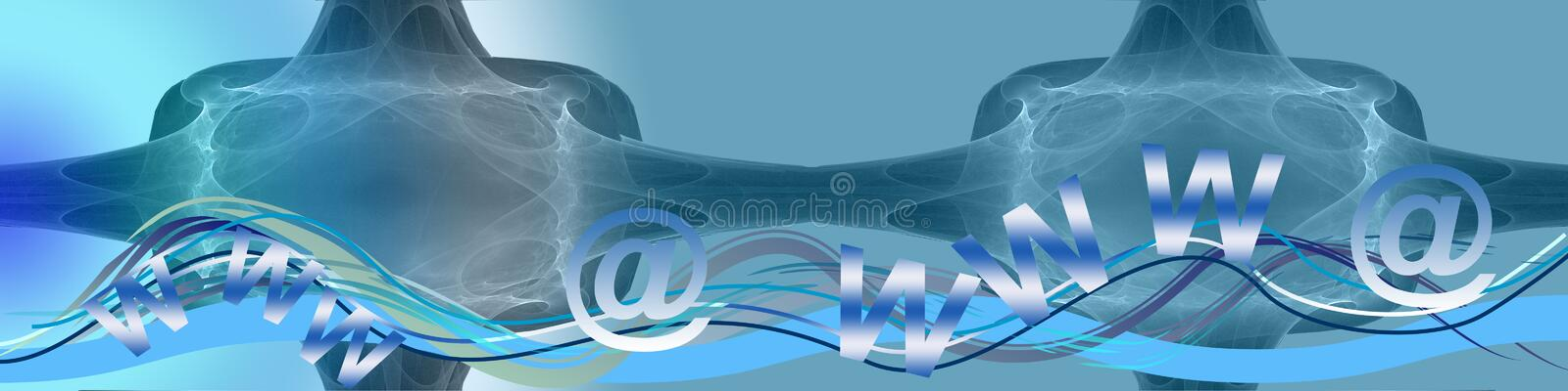 Waves, www and @. This banner has a creative abstract background with waves.The www's and @'s are situated on the wave trac vector illustration