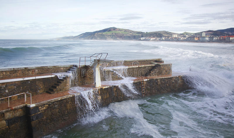 Download Waves at Zarautz beach stock image. Image of country - 29270817