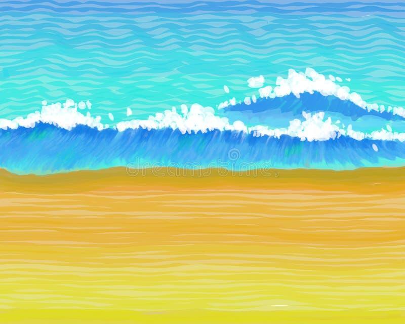 wavey na plaży ilustracja wektor