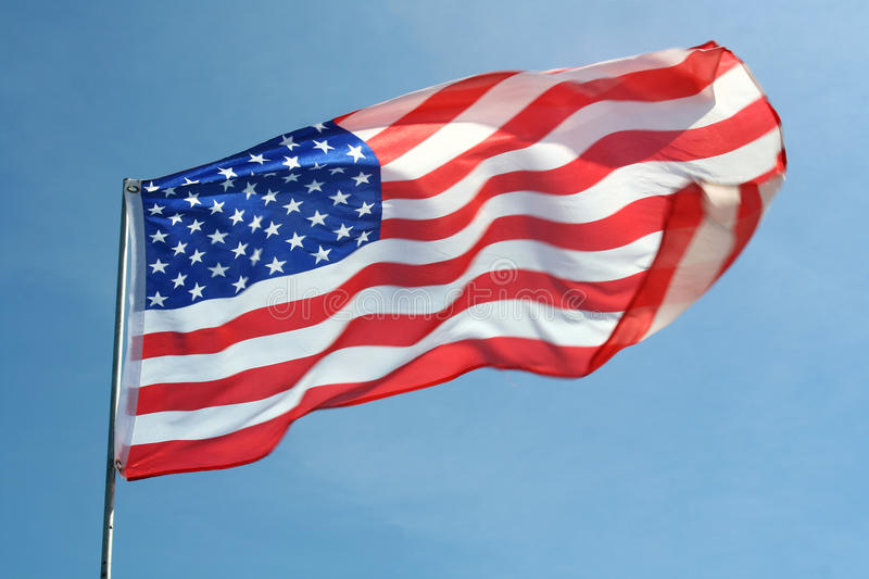 Waving American Flag. An American flag that is perfectly captured in the breeze royalty free stock image