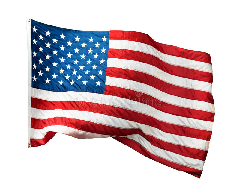 Waving American flag. Isolated on white background royalty free stock image