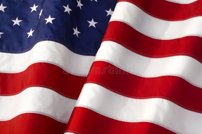 WAVING AMERICAN FLAG. Iconic Symbol of Patriotism Closeup stock photography