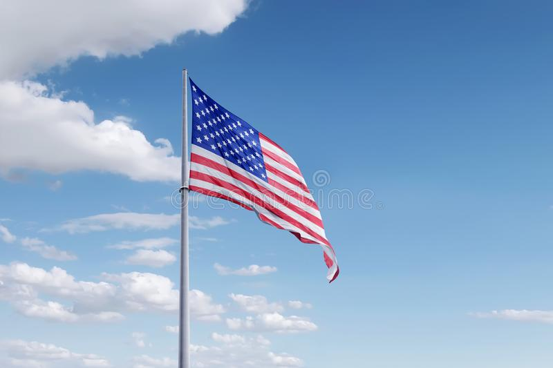 Independence day 4th of July. Waving american flag on the pole. Independence day 4th of July royalty free stock image