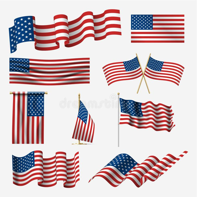 Waving american flag set, pride and democracy stock illustration