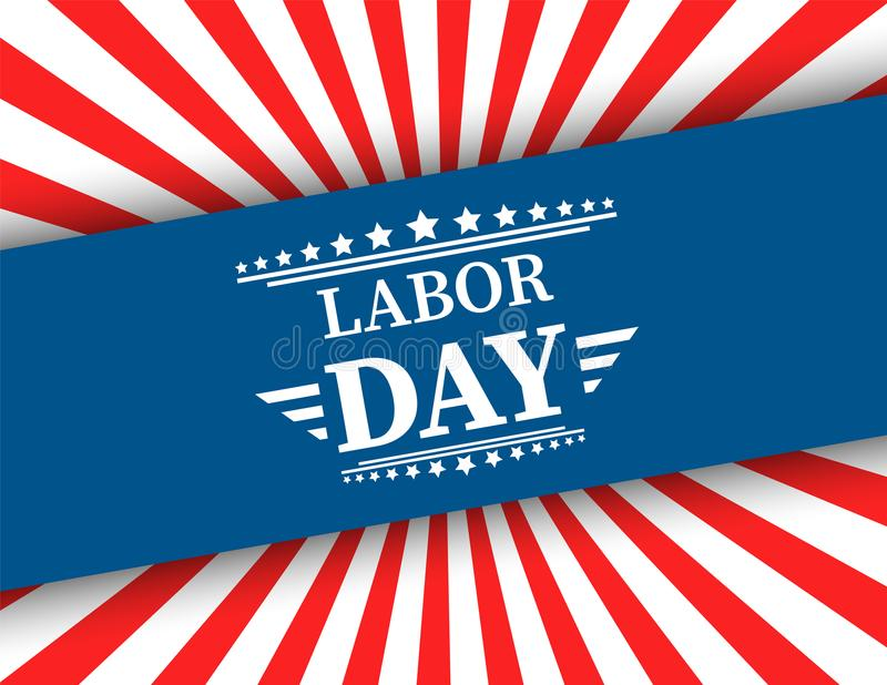 Waving American flag with typography Labor Day, September 7th, United state of America, American Labor day design. Beautiful USA f stock illustration