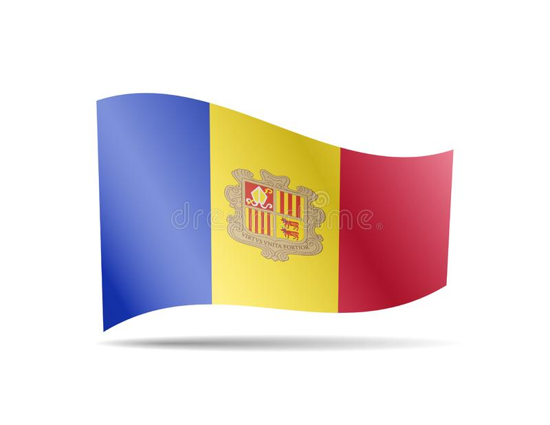 Waving Andorra flag in the wind. Flag on white vector illustration. Waving Andorra flag in the wind. Flag on white background vector illustration vector illustration
