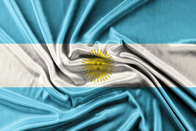 Waving Argentina Flag. Waving fabric background, wallpapers, close-up stock images