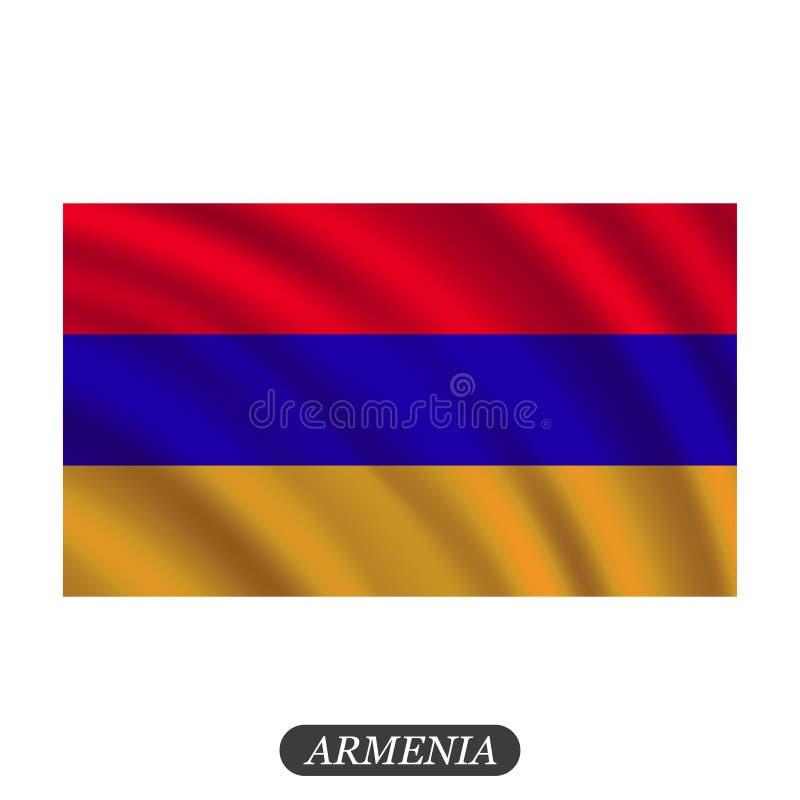 Waving Armenia flag on a white background. Vector illustration stock illustration