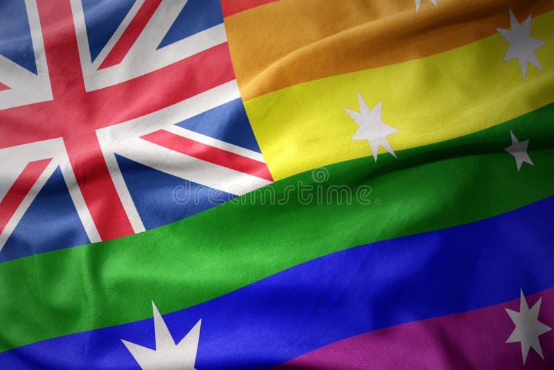 Waving australia rainbow gay pride flag banner royalty free stock photos