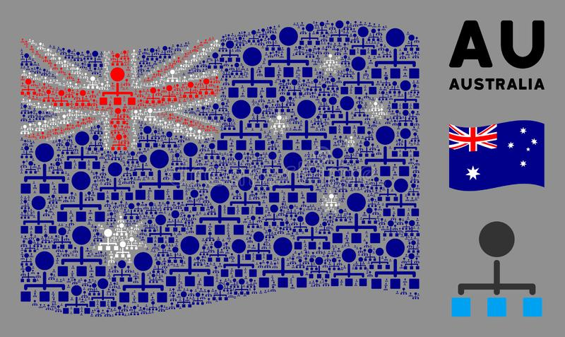Waving Australia Flag Collage of Hierarchy Icons. Waving Australia official flag. Vector hierarchy design elements are scattered into conceptual Australia flag vector illustration