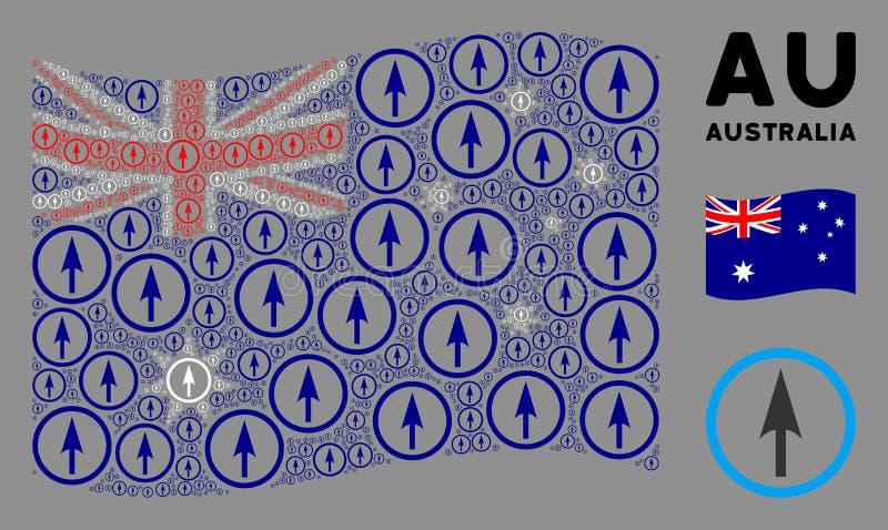 Waving Australia Flag Composition of Sharp Rounded Arrow Icons illustrazione vettoriale