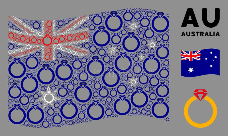 Waving Australia Flag Pattern of Ruby Ring Items. Waving Australia flag. Vector ruby ring items are combined into geometric Australia flag illustration stock illustration