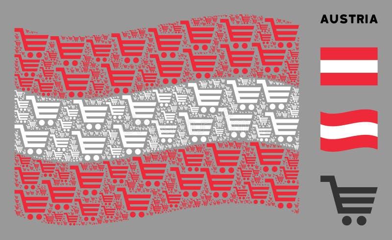 Waving Austria Flag Collage of Shopping Cart Icons royaltyfri illustrationer