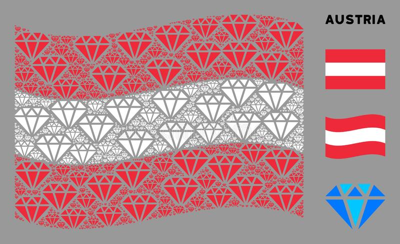 Waving Austria Flag Composition of Diamond Icons. Waving Austria flag. Vector diamond design elements are scattered into geometric Austria flag collage vector illustration