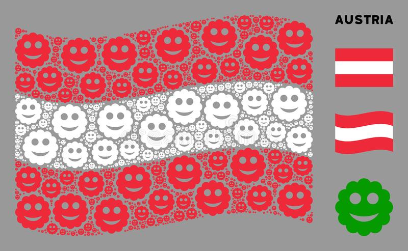 Waving Austrian Flag Collage of Smiled Sticker Items. Waving Austria state flag. Vector smiled sticker design elements are combined into conceptual Austria flag stock illustration