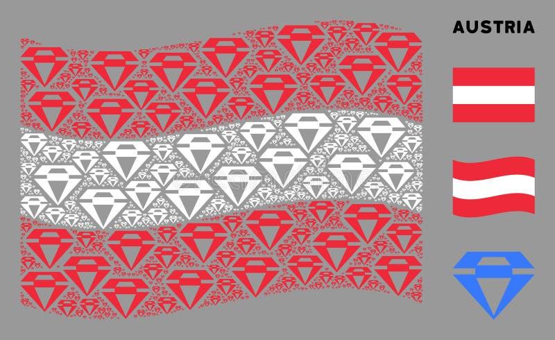 Waving Austrian Flag Pattern of Diamond Icons. Waving Austrian official flag. Vector diamond design elements are grouped into geometric Austria flag illustration stock illustration
