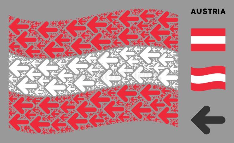 Waving Austrian Flag Zusammensetzung Arrow Left Icons vektor abbildung