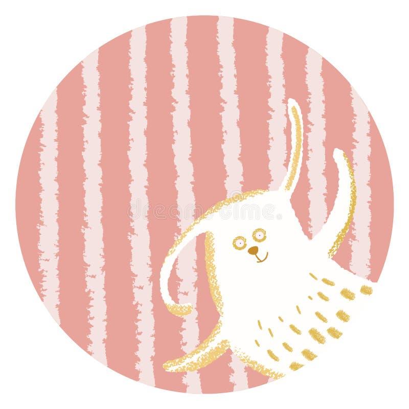 Waving birthday bunny stock illustration