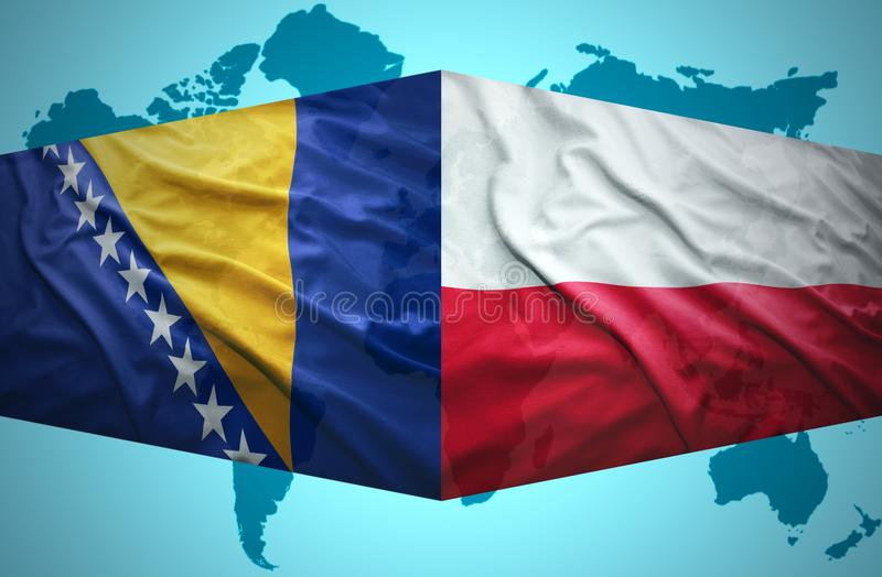 Waving Bosnian and Polish flags. Of the political map of the world stock illustration