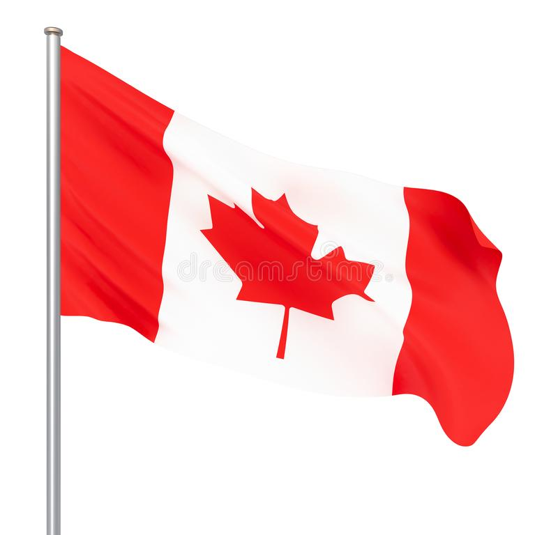 Waving Canada flag. 3d illustration for your design. – Illustration. White royalty free illustration
