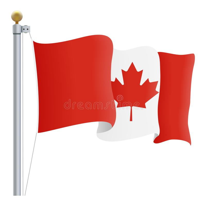Waving Canada Flag Isolated On A White Background. Vector Illustration. royalty free illustration
