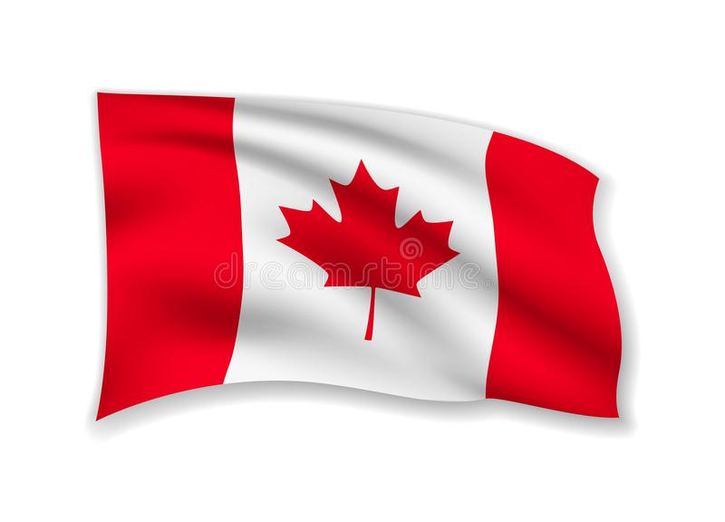 Waving Canada Flag on white. American Flag in the Wind. royalty free illustration